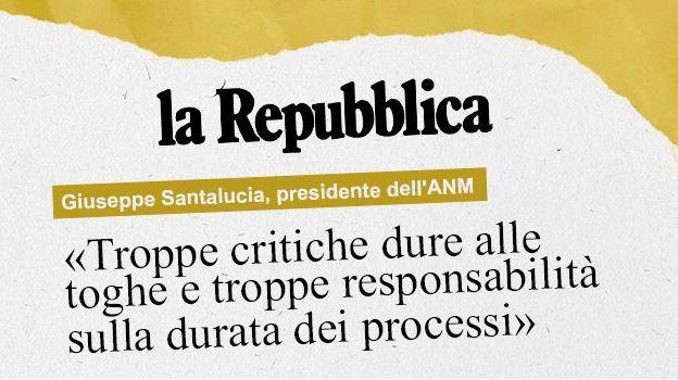 """Giustizia, Santalucia (Anm): """"Troppe critiche dure alle toghe e troppe responsabilità sulla durata dei processi"""""""