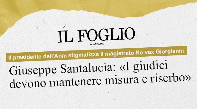 Il presidente dell'Anm stigmatizza il magistrato No vax Giorgianni