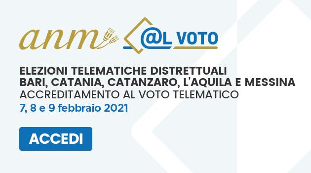 Elezioni dei distretti dell'ANM di Bari, Catania, Catanzaro, L'Aquila e Messina