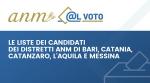 Le liste dei candidati alle elezioni dei distretti dell'ANM di Bari, Catania, Catanzaro, L'Aquila e Messina -