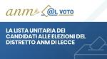 La lista unitaria dei candidati alle elezioni del distretto ANM di Lecce -
